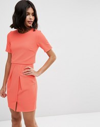Asos Textured Double Layer Mini Wiggle Dress Coral