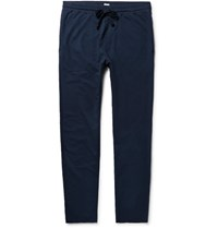 Schiesser Anton Slim Fit Tapered Loopback Cotton Jersey Sweatpants Storm Blue