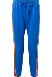 Mira Mikati Rickrack Trimmed Stretch Cotton Jersey Track Pants Bright Blue Gbp