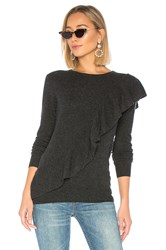 Autumn Cashmere Asymmetric Ruffle Sweater Charcoal