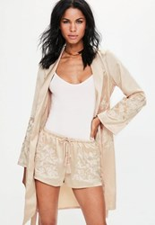 Missguided Nude Satin Embroidered Button Side Shorts Champagne