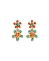 Jose And Maria Barrera Double Flower Drop Clip On Earrings Turquoise Coral Multi