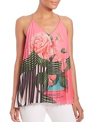 Mary Katrantzou Pleated Rose Print Tank Top Rose Fuschia