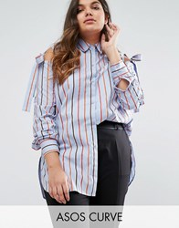 Asos Curve Cold Shoulder Top In Stripe With Ties Blue Red White Multi