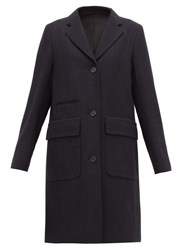 Margaret Howell Soft City Single Breasted Wool Coat Navy