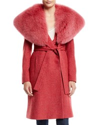 Fleurette Wrap Coat W Wide Fur Collar Pink