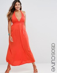 Asos Curve Jersey Ruched Halter Maxi Beach Dress Tomato Red