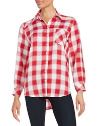 Kensie Monochrome Check Button Front Shirt Red