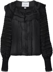 Alexis Paneled Ruffled Blouse Black