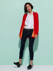 Shanghai Tang Cashmere Cardigan With Silk Lining Red