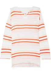 Lemlem Fiesta Frayed Striped Cotton Blend Gauze Hoodie White
