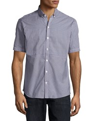 Zachary Prell Gingham Short Sleeve Woven Shirt Dark Blue