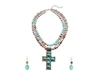 Mandf Western Engraved Cross Pendant Necklace Earrings Set Turquoise Jewelry Sets Blue