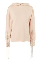 Topshop Lace Up Sleeve Hoodie Blush