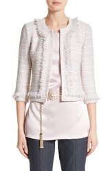 St. John Women's Collection Padmesh Tweed Knit Fringe Jacket