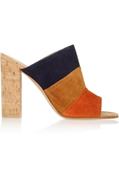 Gianvito Rossi Color Block Suede And Cork Mules