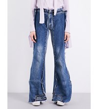 Daniel Gregory Natale Reconstructed Flared Leg Mid Rise Denim Trousers Navy
