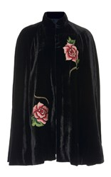 Anna Sui Pagoda Beaded Velvet Cape Black