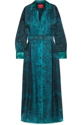 F.R.S For Restless Sleepers Belted Printed Hammered Satin Maxi Dress Teal