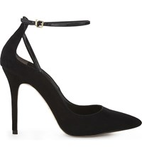 Reiss Leighton Suede Ankle Strap Courts Black