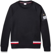 Moncler Gamme Bleu Stripe Trimmed Cotton Blend Pique Sweatshirt Navy