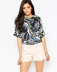 Neon Rose Crop Top In Multi Rose Print Blackmulti