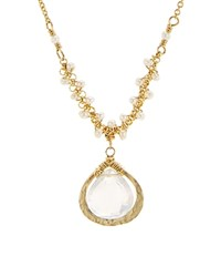 Dana Kellin Faceted Stone Pendant Necklace 15.5 Gold