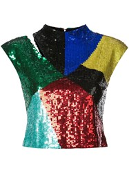 Alice Olivia Cut Out Detail Sequined Top Multicolour
