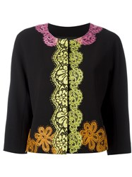 Boutique Moschino Lace Detail Cropped Jacket Black