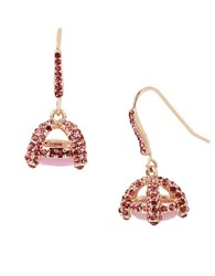 Betsey Johnson Pave Cage Drop Earrings Pink