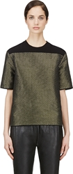 Cedric Charlier Green And Silver Wire Woven Blouse