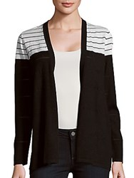 August Silk Striped Open Front Cardigan Black