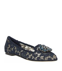 Dolce And Gabbana Vally Embellished Lace Slipper Female Navy