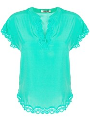 Max And Moi Lace Panel Blouse Green