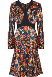 Zac Posen Scuba Trimmed Floral Print Silk Charmeuse Dress Multi