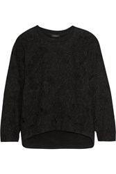 Giambattista Valli Appliqued Cotton Jersey Sweatshirt Black