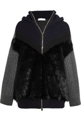 Stella Mccartney Oversized Faux Fur Paneled Ribbed Wool Hooded Cardigan Navy