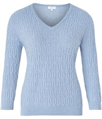 Cc V Neck Cable Jumper Cornflower