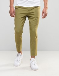 Asos Tapered Cropped Trousers In Green Cedar