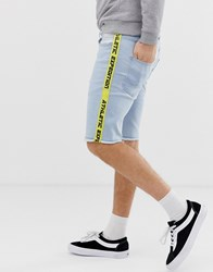 Solid Regular Fit Denim Shorts With Taping In Bleach Wash Blue