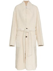 Ambush Single Breasted Belted Shearling Coat Nude And Neutrals