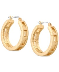 T Tahari Gold Tone Patterned Hoop Earrings