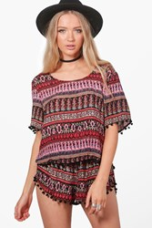 Boohoo Woven Pom Pom Crop And Shorts Co Ord Multi