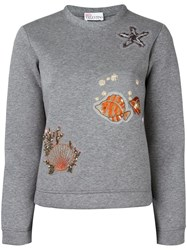 Red Valentino Sea Motif Patches Sweatshirt Grey