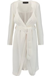 Roland Mouret Wigmore Wool Crepe Trench Coat Ivory