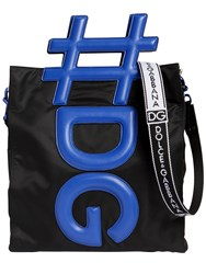 Dolce And Gabbana Hashtag Handle Nylon Tote Bag Black Blue