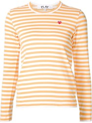 Comme Des Gara Ons Play Stripe Embroidered Heart T Shirt Yellow And Orange