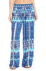 Women's Green Dragon 'Riviera' Print Lounge Pants Blue Multi