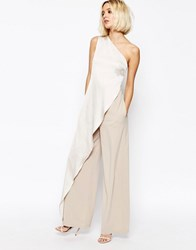 Paisie One Shoulder Jumpsuit With Overlay Silver