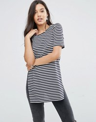 Glamorous Tunic Top With Side Splits Navy White Stripe Multi
